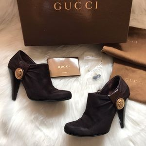 Auth. GUCCI GG Logo Suede Patent Leather Booties